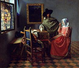 Le verre de vin ( Herr und Dame beim Wein ) von Johannes Vermeer